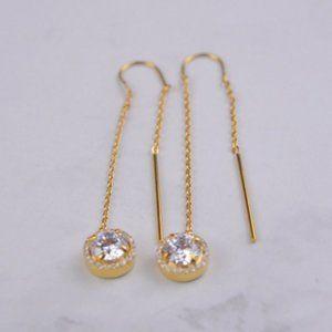 Henri Bendel Explosion Zircon Gold Long Earrings